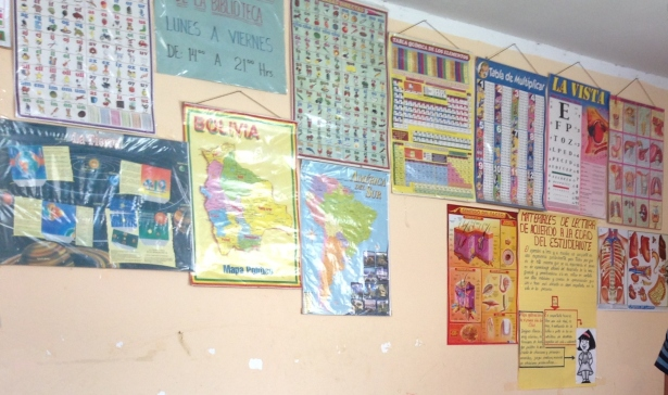 Posters on walls of library